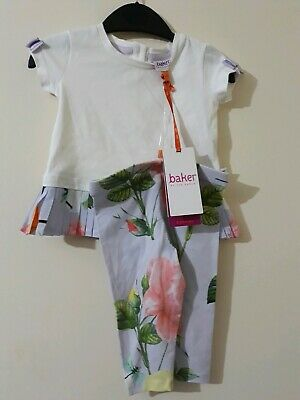 Ted Baker-'Baby girls' off-white pleated hem short sleeve top and lilac floral
