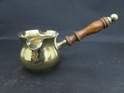 Antique Brass Twin Spout Brandy Warmer, Turned Wood Handled (Was Silver Plated)