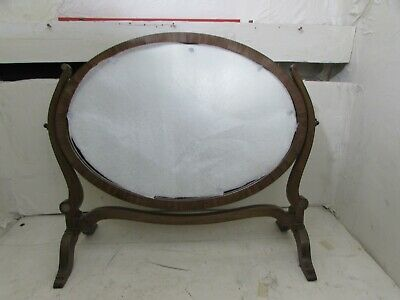 Antique Edwardian Mahogany Inlaid Oval Dressing Table Toilet Swing Mirror