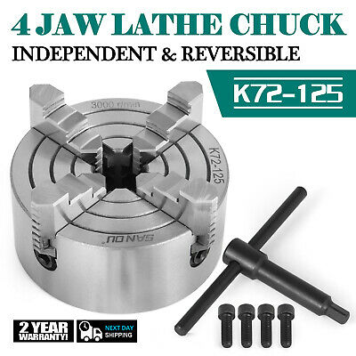 "K72-125 5"" 4 Jaw Lathe Chuck Independent Internal Jaw Reversible Semi-steel"
