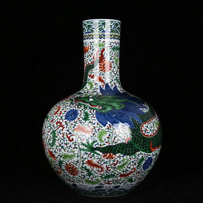 Fine Chinese old antique Porcelain Qing Yongzheng marked doucai Big belly vase