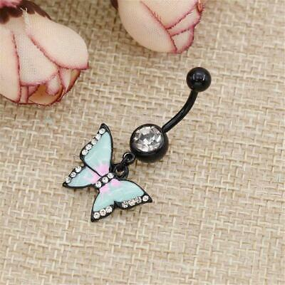 Belly Button Dangle Rings Crystal Jewelry Barbell Navel Ball Bar Body Piercing~