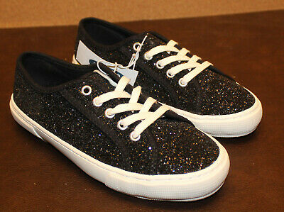 ⛵Old Navy Black Glitter-Covered Lace Up Sneakers for Girls Size 5 NWT⛵