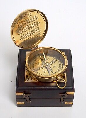 Brass robert frost poem compass engraved brass with wooden box christmas gift