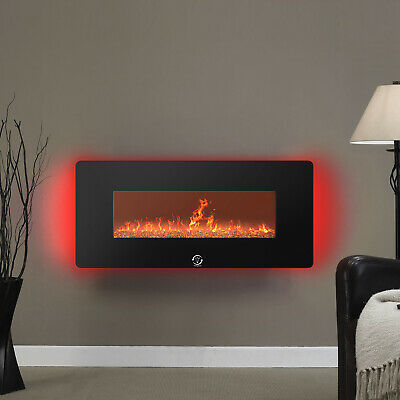 1400W Wall Mounted Electric Fireplace Heater Fire Remote Control LED Backlit