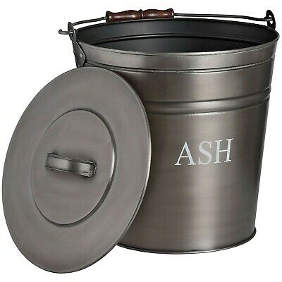 Metal ASH BUCKET fireside hearth display holder aged pewter silver colour
