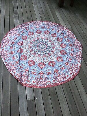 Indian Ombre Mandala Round Tapestry Cotton Beach Throw Blanket Yoga Mat