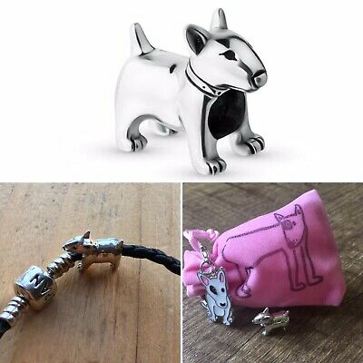 English Bull Terrier 925 Sterling Silver Charm With Cute Pouch And Bag Charm