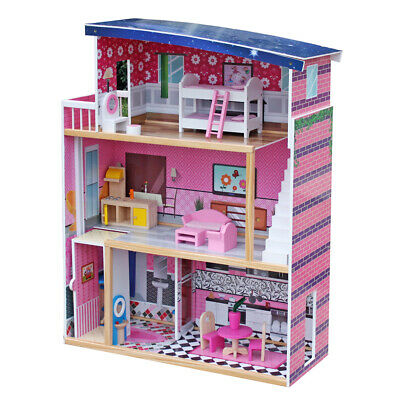 Girl Dream Sweet Wooden Pretend Play House Doll Dollhouse Mansion w/18 Furniture