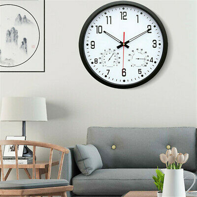 Retro Silent Large Wall Clock Quartz Temperature Humidity Display Indoor Kitchen
