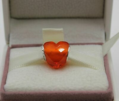Authentic Pandora Silver Shape of Love Orange CZ Bead 796563OCZ SUMMER 2018