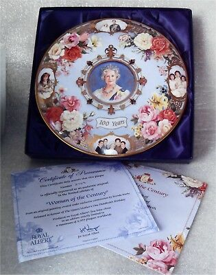 Royal Albert Woman Of The Century 100 Years Of The Queen Mother Plaque Plate COA
