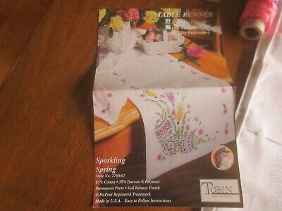 "Tobin SPARKLING SPRING Stamped Cross Stitch/Embroid15"" x 44"" TABLERUNNER w/Floss"