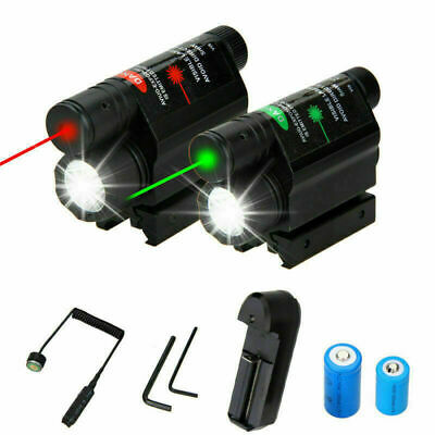 Tactical Green/Red Laser Sight Scope LED Flashlight Hunting Lamp 20mm Rail Mount