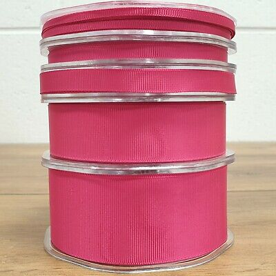 Beautiful Fuchsia Pink Grosgrain Ribbon 3mm-38mm Thin - Wide Solid Cut Per 1M