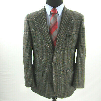 Polo Ralph Lauren University Club Sport Coat Men 40R Brown Gray Plaid Made USA