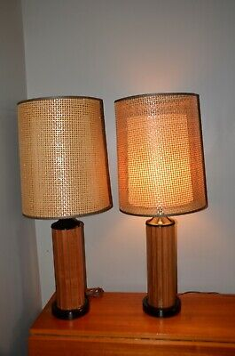 A pair of Mid Century Wood Lamps Woven Rattan Fiberglass Shades