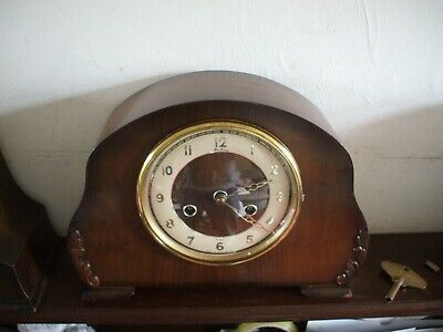 Vintage British Bentima / Perivale Art Deco 8 Day Striking Mantle Clock V G C