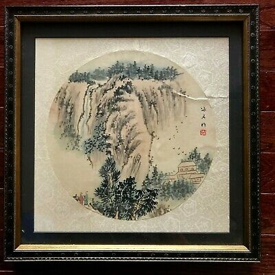Chinese hand painted on silk woven paper signed for hand fan w/ frame