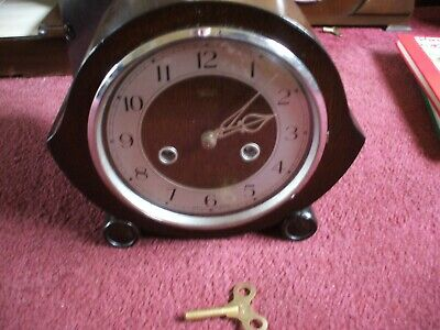 Vintage British Smiths /  Enfield Art Deco 8 Day Striking Mantle Clock V G C