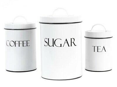 Outshine White Metal Nesting Kitchen Canisters | Air Tight Lids| Set of 3