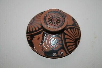 ANCIENT GREEK POTTERY RED FIGURE POT LID 4th CENTURY BC