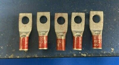 Burndy YA8C-L1 One Hole Hylug Ring Terminal 8 STR Copper Compression Lot Of 5