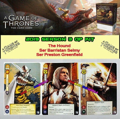 A GAME OF THRONES - 2019 SEASON 3 OP KIT - 3 promo cards - Ser Barristan, Hound