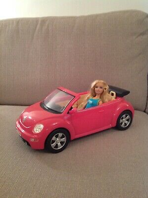 Pink Barbie  Convertible Car And  Barbie Doll
