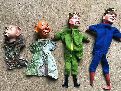Antique Late Victorian Superb Set Of 4 Porcelain / Pottery Headed Puppets