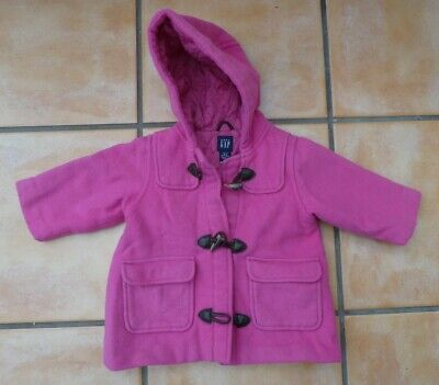 Baby Gap Girls Pink Wool Duffle Coat With Toggles - Age 12-18 M - Good Condition