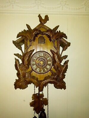 Large Antique Cuckoo Clock Wood Plate Movement for Restoration.- part working