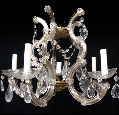 Stunning French Antique Crystal Drop Prism Chandelier