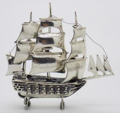 Vintage Solid Silver Italian Made Large Caravel Ship Hallmarked Miniature