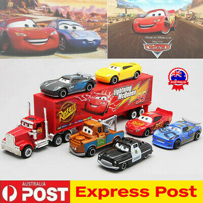 7Pcs/Set Cars 2 Lightning McQueen Racer Car&Mack Truck Collection Toy Kids AU !R