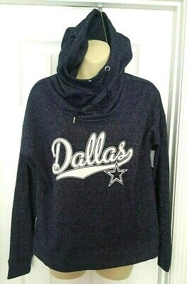 DALLAS COWBOYS Womens Hoodie Size XS Oversized Cowl Neck Metallic Speckled Blue