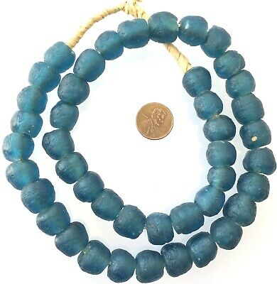 Made in Ghana Air Force Blue Krobo recycled Glass African trade Beads-Ghana