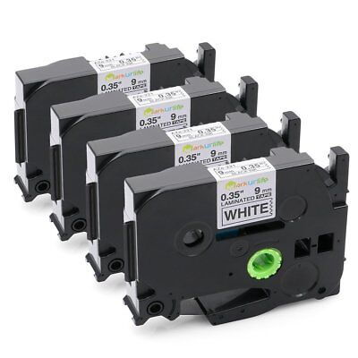 4 PK Black on White Label Tape 9mm Compatible for Brother TZe-221 P-Touch 26.2ft