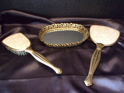 Vintage Vanity Brush, Hand Mirror And Small Oval  Vanity Tray