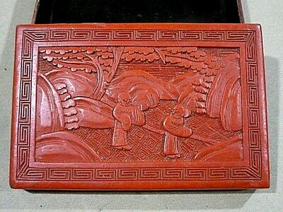 ANTIQUE CHINESE CINNABAR CARVED RED LACQUER BOX 1920's SIGNED. VERY ORNATE BOX