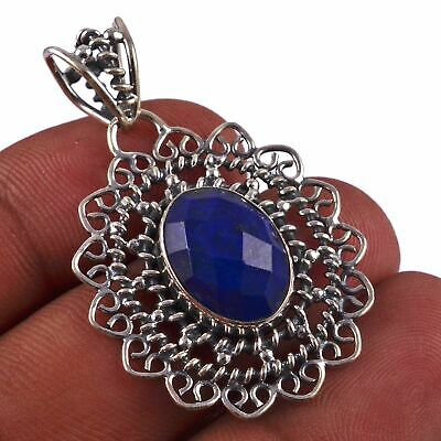 """Faceted-Lapis Lazuli Solid 925 Sterling Silver Pendant Jewelry 1.8"""" AP-6612"""