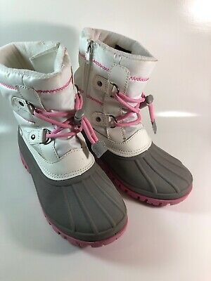Cat and Jack Girls Snow Winter Boots Thermolite Warm Soft Pink White Size 2 Kids