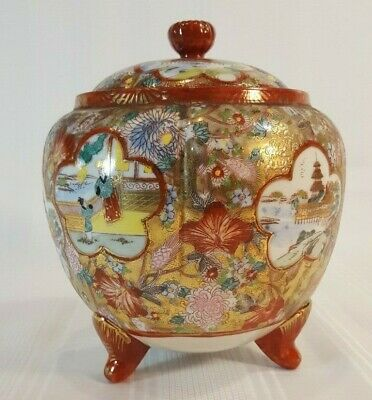 Antique Vintage Hand Painted Japanese Tea Caddy, Raised Gilded Paneled Design