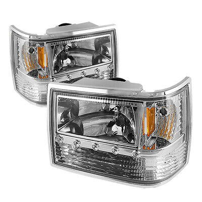 Fit Jeep 93-98 Grand Cherokee Chrome Replacement LED Headlights Bumper Corner