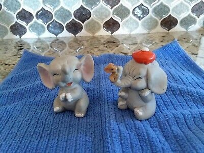 """Vintage set of 2 Enesco Elephant Figurines made in Taiwan, approx. 2 1/4"""" tall"""