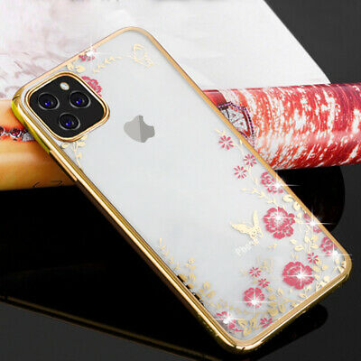 For iPhone 11 Pro Max Shockproof Plating Floral Slim Silicone Bumper Case Cover