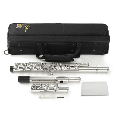 Concert Flute Silver Plated 16 Holes C Key Cupronickel Woodwind Instrument New