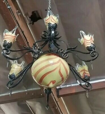 Wrought Iron Chandelier With Yellow Multi Blown Glass Shades Hand Made Art Deco