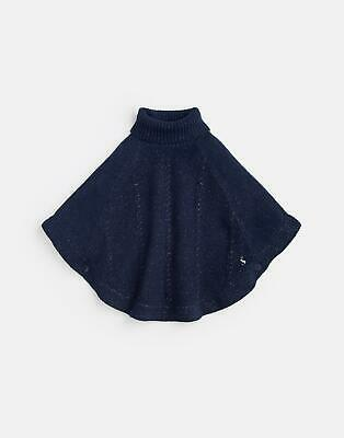 Joules Girls Amity Chenille Poncho 3 12Yr in French Navy Silver Size S
