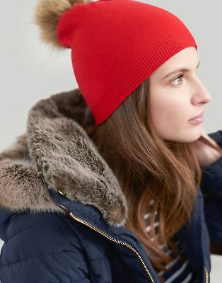 Joules Womens Snowday Lightweight Beanie With Pop A Pom in RED in One Size